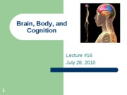 Lecture 16 July 28, 2010 Brain, Body, and Cognition-1