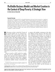 Business Models for Deep Poverty