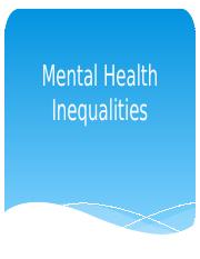 Mental Health Inequalities - Chapter 5