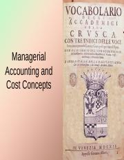 C02 Managerial Accounting & Cost Concepts