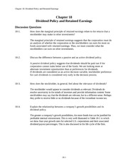 Ch. 18 Dividend Policy and Retained Earnings