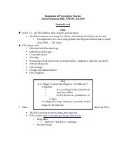 Regulation of Prescriptive Practice_Student Notes