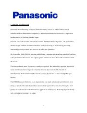 Panasonic Manufacturing Malaysia Berhad formerly known as.docx
