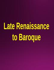 3. 104. Late enaissance to Baroque - Blackboard.ppt