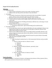 Study Guide Chapter 23 Personality Disorders