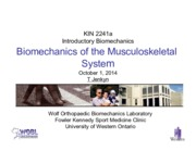 Lecture 11 - Biomechanics of the Musculoskeletal System