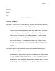 Issue Analysis, Obesity in America- Annotated Bibliography.doc