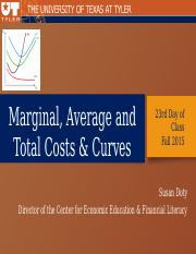 23rd Day of Class Micro Cost Curves