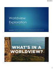 Worldview Exploration
