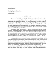 my papa waltz analysis essay The paper looks critically at the poem my papa's waltz by theodore roethke in regard to the symbolism the poem expresses the poet's feelings, emotions, and thoughts a careful analysis of the poem supports the understanding of a child being abused by a drunken father.