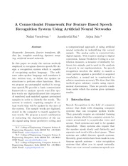 Connectionist Framework For Feature Based Speech  Recognition System Using Artificial Neur