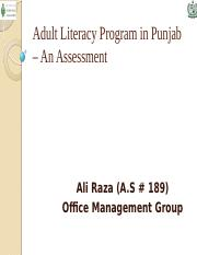 Adult Literacy Programme in Punjab – An Assessment