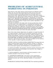 PROBLEMS OF AGRICULTURAL MARKETING IN PAKISTAN