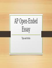 AP Open-ended Essay Review