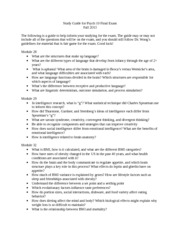 Psych 10 Final Exam Study Guide F13