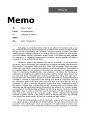 w2 bis221 memo Read this essay on bis 221 week 4 wireless technologies and networks in the work environment bis221 week 4 wireless technologies and networks in the work environment summarize your findings of the event/issue in the article in a memo of 350-700 words.
