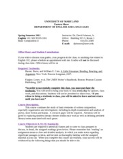 ENGLISH 102 SECTION 3301 SYLLABUS for Spring 2012