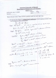 MTH 205-Solutions of Test-02-A-SU09