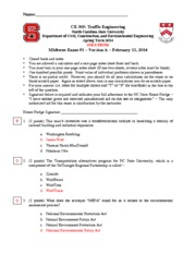CE 305 Midterm 1 version A SOLUTIONS S2014
