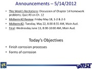 Lecture 17 5-14-2012 Forms of Corrosion