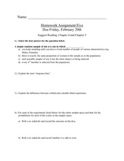 Homework 5 on Introductory Statistics