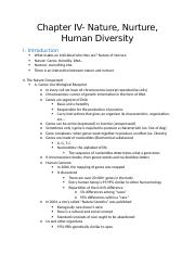 Chapter IV- Nature, Nurture, Human Diversity.docx