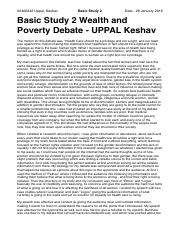 Wealth and Poverty Debate Reflection