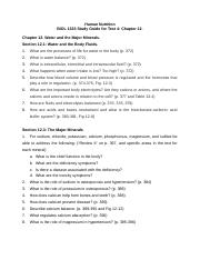 BIOL 1323 Study Guide for Test 4 Ch12