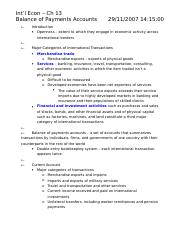 Int'l Econ – Exam 3 Study Guide