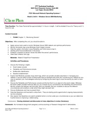 IT221 Class Plan, Week 8, Unit 8