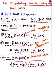 MATH 111 Calculating Limits Using Limit Laws Notes