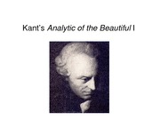 Kant's Analytic of the Beautiful I-1