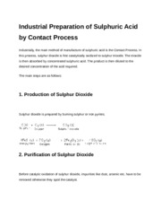 Sulphuric acid process (Contact process)