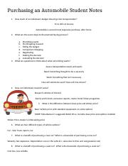 Purchasing an Automobile Student Notes.docx