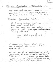 Polynomial Approximations - Interpolation Notes