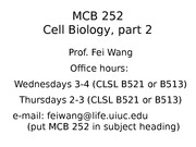 MCB 252 Course Outline Lecture