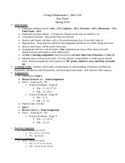 College Mathematics - Day Three Outline
