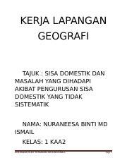 Soal Selidik Geografi Tingkatan 1 Sisa Domestik Guru Paud