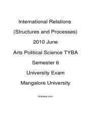 (www.entrance-exam.net)-Political Science Semester 6- International Relations (Structures and Proces