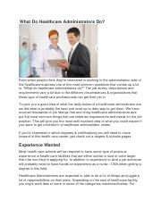 What Do Healthcare Administrators Do.docx