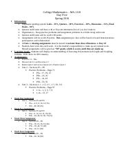 College Mathematics - Day Five Outline
