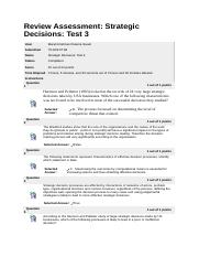 Strategic Decisions - Test 3