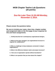 MOB Chapter Twelve Lab Questions