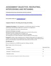ASSIGNMENT OBJECTIVE RECRUITING, INTERVIEWING AND RETAINING.docx