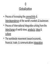 C0 s - Introduction to Globalisation
