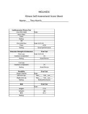 Wellness Unit 1-Week 1 Fitness Self Assesment Score Sheet