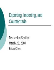 Exporting, Importing, and Countertrade.ppt