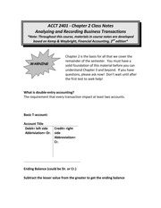 Chp. 2 notes for quiz on analyzining and recording Business transactions