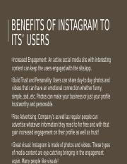 Benefits of Instagram to its' users