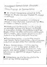 management communication classnote: classification of communication